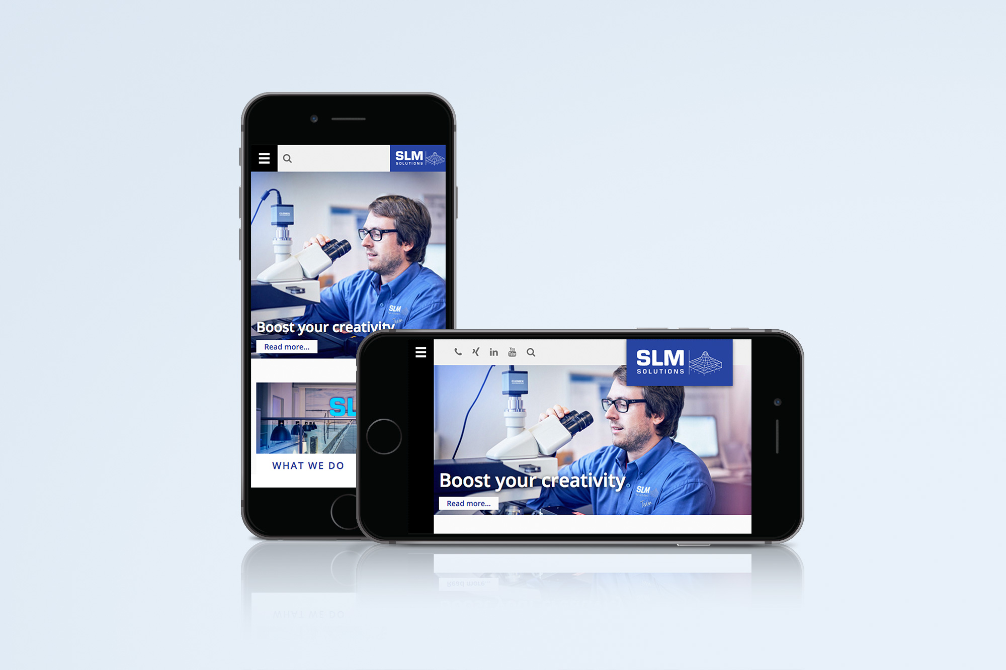 Mobile Ansicht der englischen Startseite